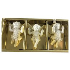 1950's Japan Porcelain 3 Angels Hanging Ornaments in Box
