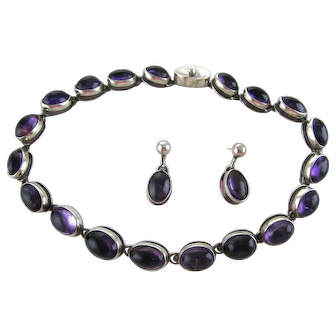 Antonio Pineda Modernist Cabochon Amethyst Necklace Earrings Taxco Mexico
