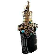 19th C  Jeweled Banded Agate Perfume Scent Bottle