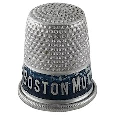 Vintage Advertising Thimble Boston Mutual Life Ins. Co. – Aluminum