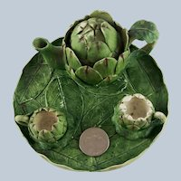 Miniature Ceramic Artichoke Tea Set