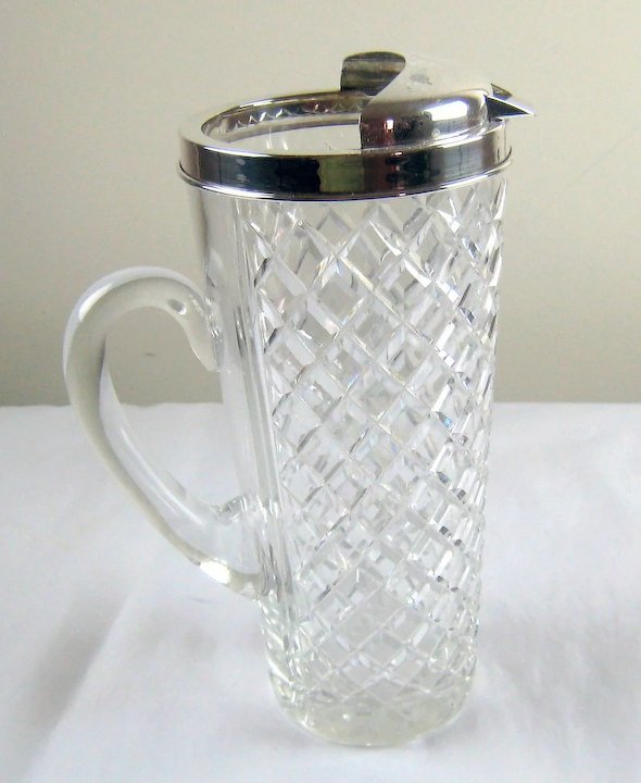 2891c1d44bf8 Tiffany Sterling Silver Cut Crystal Martini Pitcher with Silver Stirrer