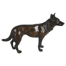 """Antique Bronze Dog –Alsatian German Shepherd 7"""" Long  – c 1900"""