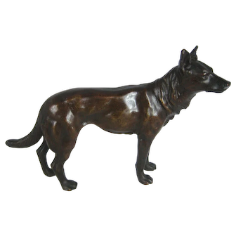 "Antique Bronze Dog –Alsatian German Shepherd 7"" Long  – c 1900"