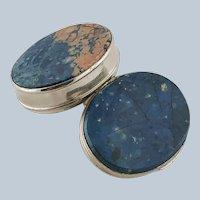 Antique Scottish Oval Blue Agate Snuff Pill Box