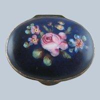 Battersea Bilston English Enamel Patch Box – Blue Pink Rose – c 1790