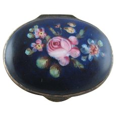 Battersea Bilston English Enamel Patch Box – Blue Pink Rose – c 1790