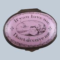 Battersea Bilston Enamel – Dont Deceive Me –  Patch Box C 1790