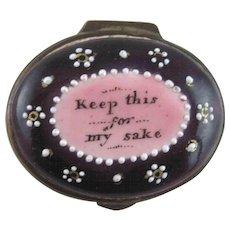 Battersea Bilston Enamel – Keep for My Sake – Motto Patch Box - C 1790