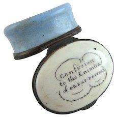 Battersea Bilston English Enamel Confusion to Enimies - Patch Box – c 1780