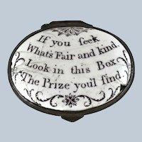 Battersea Bilston English Enamel –Fair and Kind – Love Motto Patch Box – c 1790