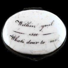 Battersea Bilston English Enamel Patch Box – Dear To Me – c 1780