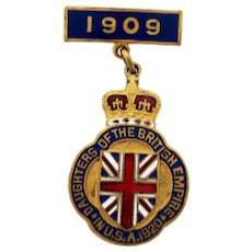 Badge - Daughters of the British Empire USA Enamel Pin – C 1920.