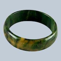 Vintage Marbled Green Yellow Bakelite Bracelet