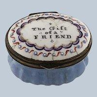 Battersea Bilston Enamel – The Gift of a Friend - Motto Patch Box - C 1790