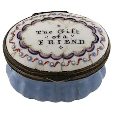 Battersea Bilston Enamel – The Gift of a Friend - Motto Patch Box - C 1790