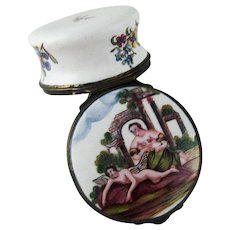 Battersea Bilston Enamel Snuff Box - Angel C 1780