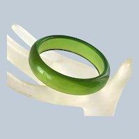 """Vintage Translucent Green Bakelite Bracelet 5/8"""""""