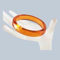 Vintage Translucent Orange Bakelite Bangle Bracelet
