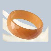 Vintage Faceted Orange Bakelite Bangle Bracelet