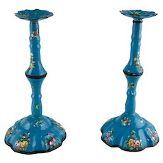 Pair Battersea Bilston English Enamel Candle Chamber Sticks – c 1770
