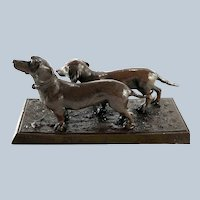 Antique Bronze Two Dachshunds Doxie Dogs Walking on the Grass