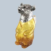 Figural Bear Amber Glass Decanter Claret Jug Silver Plate Head
