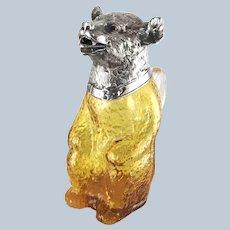 Figural Bear Amber Glass Decanter Claret Jug Silver Plate Head