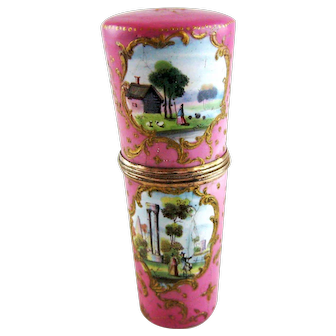 18th C Battersea Bilston English Enamel Etui – Pastoral Scenes