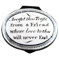 Battersea Bilston English Enamel – Friend Love Never End – Motto Patch Box – c 1790
