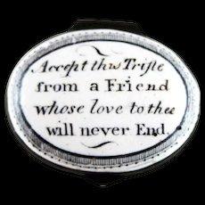 Battersea Bilston English Enamel – Friend Love Never End – Motto Patch Box – c 1790