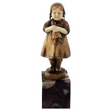 Small Antique Dore Bronze Girl Child with Doll
