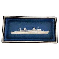 Gustavsberg Swedish American Line Blue Tray Sterling Ship Overlay