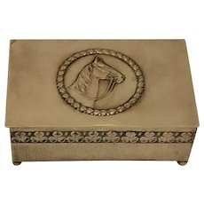 Equestrian Themed Large Brass Box with Horse and Clover –– Edwardian Humidor