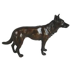 "Antique Bronze Dog – Hound Hunting Dog 7"" Long  – c 1900"