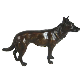 "Antique Bronze Dog – Hound Hunting Dog 7"" Long  – c 1900"