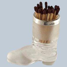Glass Silver Rim Boot Figural Match Striker Holder  - London 1900