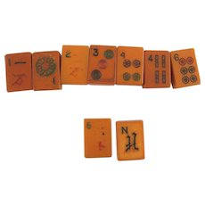 9 Bakelite Butterscotch Mahjong Tiles – Assorted – for Jewelry