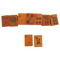 9 Bakelite Butterscotch Mahjong Tiles – Assorted – for Jewelry