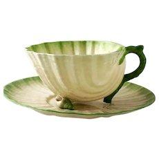 Belleek Neptune Tea Cup & Saucer 2nd Black Mark 1891 – 1926