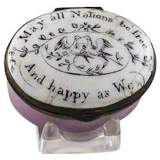Battersea Bilston English Enamel May All Nations be free - Patriotic  Patch Box – c 1780