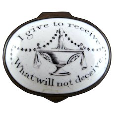 Battersea Bilston Enamel – I give to receive - Motto Patch Box - C 1790