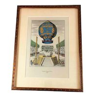 Traditional Hot Air Balloon Ascension Hand Colored Voyage Aerien