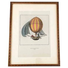 Vintage Hot Air Balloon Ascension Hand Colored Framed Print – Globe Fait