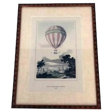 Hot Air Balloon Ascension Hand Colored Framed Print James Sadler
