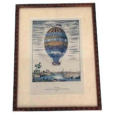Hot Air Balloon Ascension Hand Colored Framed Print Strasbourg 1784