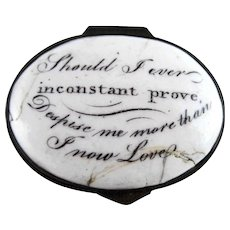 Battersea Bilston English Enamel – Inconstant Prove – Motto Patch Box – c 1790