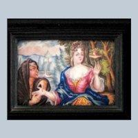 Battersea Bilston English Enamel Framed Plaque - The Fortune Teller – c 1780