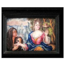 Battersea Bilston English Enamel Framed Plaque - The Fortune Teller – c 1780
