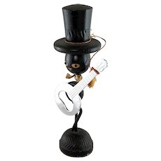 Ideal Mid-Century Black Man Top Hat with Magnetic Banjo Bottle Opener Holder